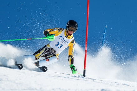 140813_FIS_SL1_3474 - Athlete competing in SSA FIS Slalom race on Hypertrail at Perisher, NSW (Australia) on August 13 2014. Jan Vokaty