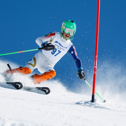 140813_FIS_SL1_3429 - Athlete competing in SSA FIS Slalom race on Hypertrail at Perisher, NSW (Australia) on August 13 2014. Jan Vokaty