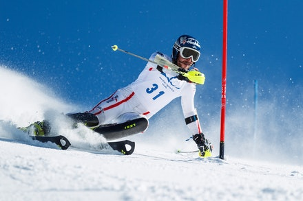 140813_FIS_SL1_3455 - Athlete competing in SSA FIS Slalom race on Hypertrail at Perisher, NSW (Australia) on August 13 2014. Jan Vokaty