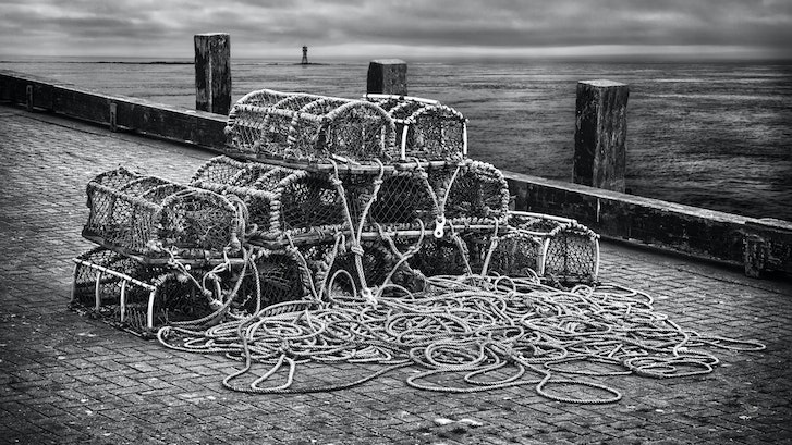 Wharf ,Yorkshire Coast. - A fishing village ,Yorkshire coast.