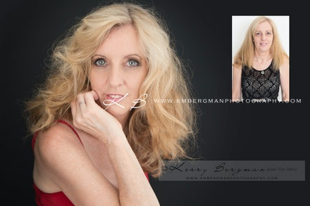 Before-and-after - Before and After from Kerri's glamour portrait session in our Edens Landing, Logan City studio.