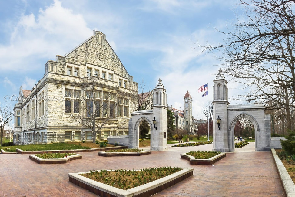 Sample Gates, Indiana University/Color Photo_2436 - Photo by Campus Photos USA. The Sample Gates on the campus of Indiana University, Bloomington, IN were...