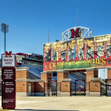 Miami RedHawks Football Stadium and Cradle of Coaches, Miami University/Color Photo_2436_3876 - Photo by Campus Photos USA. The Miami RedHawks Football...