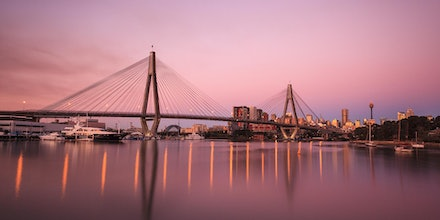 Anzac Bridge - Lavender skies looking toward the Anzac Bridge and Sydney CBD in the distance, from Glebe Point.