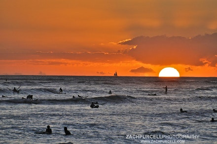 Waikiki Surfers - Location: Waikiki Date: September 2010  Time: 6:31 PM  ISO: 640  Shutter Speed: 1/4000 sec.  Aperture: 5.6  Focal Length: 240mm