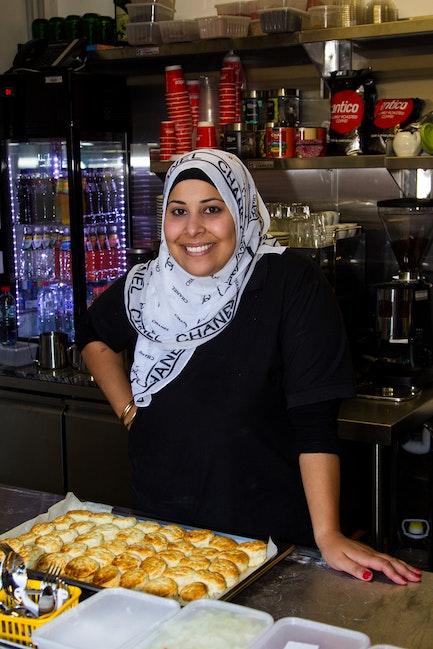 IK_06-03-14_0019 - Samira El Khafir poses in her kitchen at the Australian Islamic Museum in Melbourne, Australia on March 6th 2014.