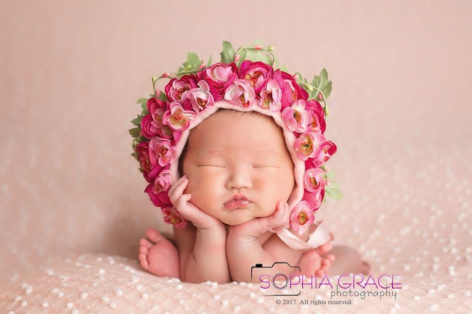 San Diego newborn baby with Flower bonnet - newborn baby portrait San Diego newborn Chula Vista newborn  twin newborns photography photographer artistic...