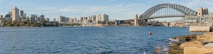 042 Barangaroo 120516-6504-Pano-Edit-Edit - The Sydney Harbour Bridge and Milsons & Blues Point. 8 shot image using a 105mm lens