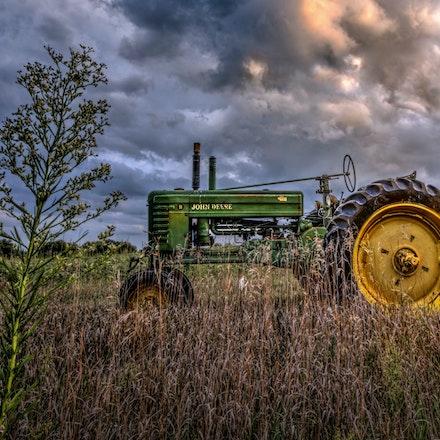 Golden Rod & a Deere  9.27.2016.9 - Golden Rod & a Deere. The Nebraska state tree grows alongside a parked tractor in a Lancaster County, Nebraska farm...
