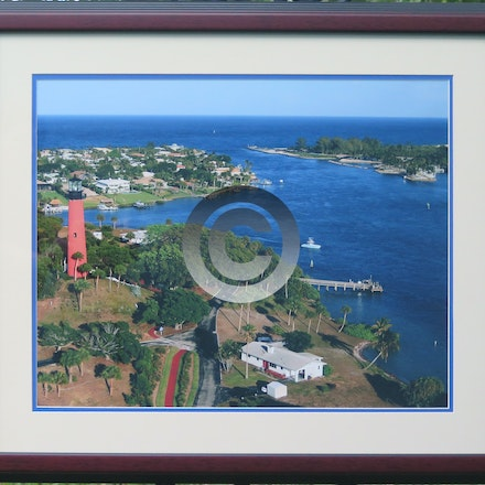 JUPITER LIGHTHOUSE - 16 x 20 Aerial with our Cherry step Frame, double mats, regular glass. $125.00