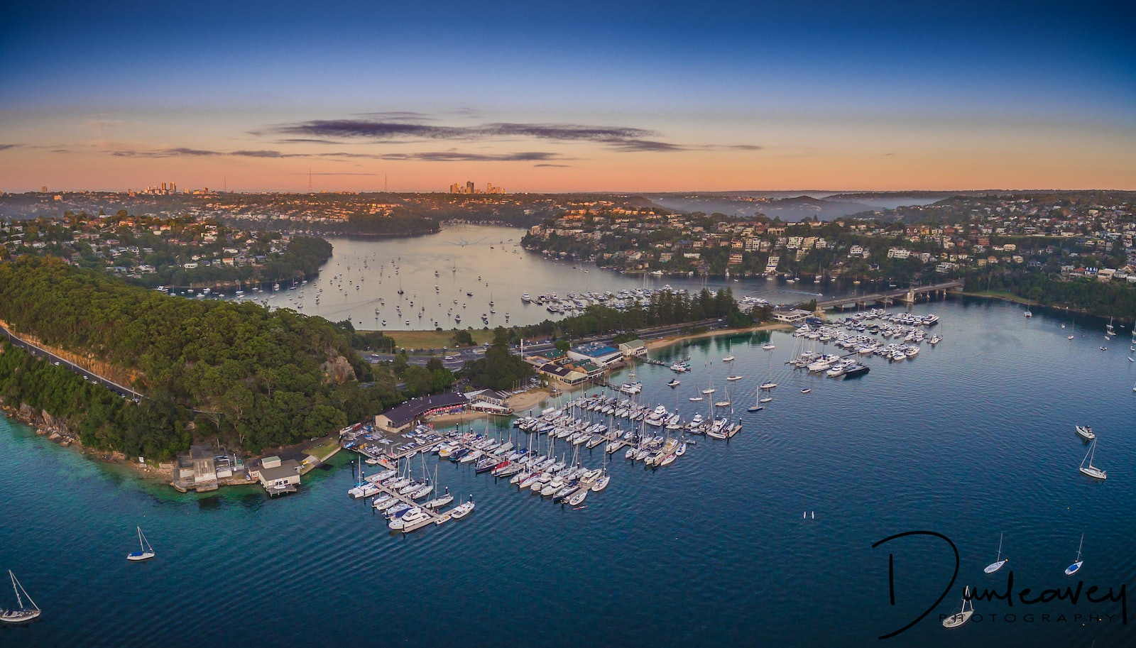 Sydney's Middle Harbour - This panoramic shot was taken at dawn, looking across Sydney's Middle Harbour towards Spit Bridge and the marina